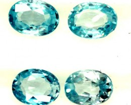 BLUE ZIRCON FACETED STONE (4 PCS) 4 CTS  PG-1350