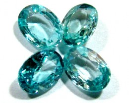 BLUE ZIRCON FACETED STONE (4 PCS) 5 CTS  PG-1354
