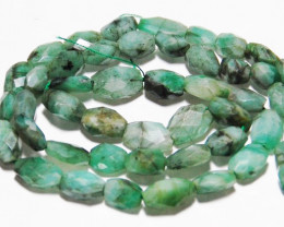 "5mm to 10mm Spring green hand faceted EMERALD beads 18"" line"