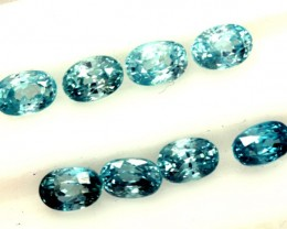 BLUE ZIRCON FACETED STONE (8 PCS) 9 CTS  PG-1391