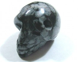 SNOWFLAKE OBSIDIAN SKULL DRILLED 50 CTS ADG-463