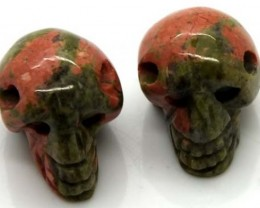 NATURAL JASPER SKULL DRILLED 52.5 CTS ADG-462