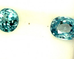 BLUE ZIRCON FACETED STONE (2 PCS) 1.30 CTS  PG-1256