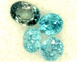 BLUE ZIRCON FACETED STONE (4 PCS) 2.70  CTS  PG-1435