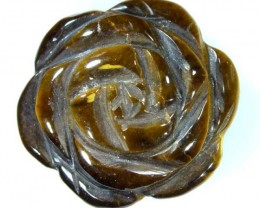 TIGER EYE FLOWER CARVING STONE 21.50 CTS LT-259