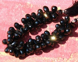 AAA BLACK SPINEL faceted briolettes 10 gems 11-12mm spdr01