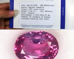PINK SAPPHIRE .48 CARAT WEIGHT OVAL CUT STONE CERTIFIED