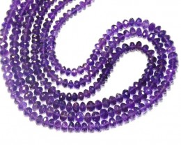 "Purple Amethyst faceted Beads 5.5 - 7mm 16"" line AA am012"