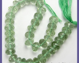 AA++ 7-8MM GLISTENING GREEN AMETHYST MICRO-FACETED ROUNDELS
