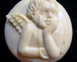 """ANGEL BOY"" MAMMOTH CARVING 28.40 CARATS  RT 451"