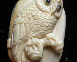 """OWL"" MAMMOTH CARVING 37.45 CARATS  RT 472"