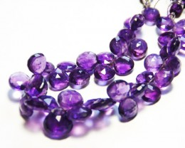 "AMETHYST faceted briolettes 9mm - 10mm Rose Cut 8"" line"