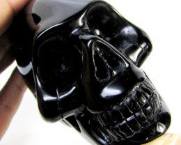 OBSIDIAN  SKULL CARVING 1390 CTS    AAT2162