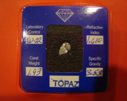 CERTIFIED SILVER TOPAZ 1.93 CARAT WEIGHT PEAR CUT GEMSTONE