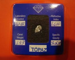 CERTIFIED SILVER TOPAZ 1.93 CARAT WEIGHT PEAR CUT GEMSTONE