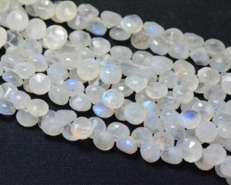 "7mm to 8mm RAINBOW MOONSTONE briolettes onion shape 10"" line"