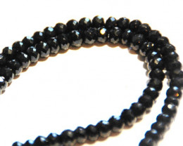 "AAA 5mm BLACK SPINEL diamond polished beads 16"" line"