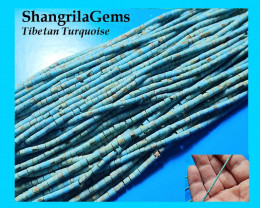 2mm 26 inch Turquoise beads Tube 2 by 3mm from Tibet untreated not stablisi