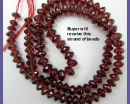 SUMPTUOUS AAA+ 4.5-6.5MM MOZAMBIQUE GARNET FACETED ROUNDELS