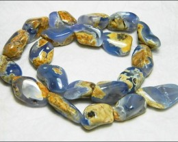Natural Chalcedony In Matrix Tumbled Beads B839