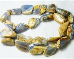 Natural Chalcedony In Matrix Tumbled Beads B844