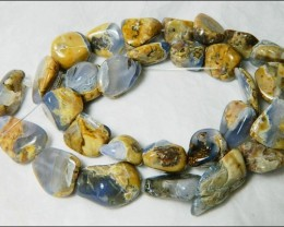Natural Chalcedony In Matrix Tumbled Beads B847