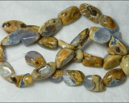 Natural Chalcedony In Matrix Tumbled Beads B850