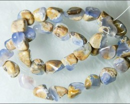 Natural Chalcedony In Matrix Tumbled Beads B851