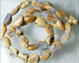 Natural Chalcedony In Matrix Tumbled Beads B853