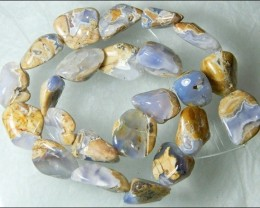 Natural Chalcedony In Matrix Tumbled Beads B862