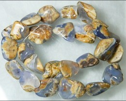 Natural Chalcedony In Matrix Tumbled Beads B872