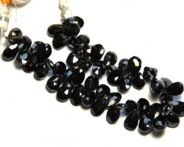 BLACK SPINEL faceted briolettes rose cut 10mm - 12mm