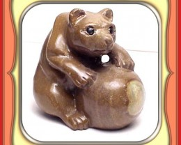 ** 218.5ct Ethiopian Serpentine Panda Bear Carving **