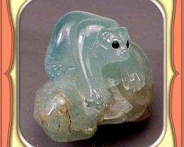 **91.5ct Tanzanian Aquamarine Bear Carving**