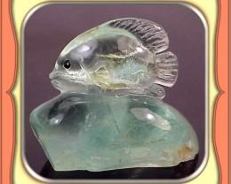 ** 99.5ct Gem Tanzanian Green Fluorite Fish Carving **