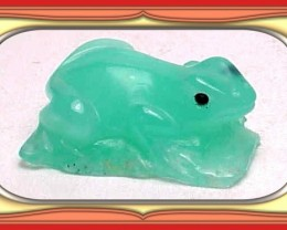 **25.5ct Tanzania Imperial Chrysoprase Carved Frog**