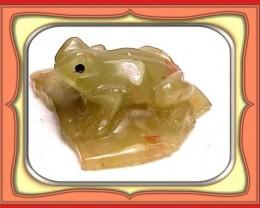 ** 43.4ct  Tanzanian Aquamarine Frog Carving **