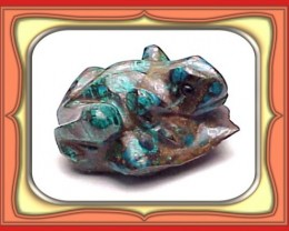 CARVING-21.0ct Natural Peru Chrysocolla Mini Frog Carving