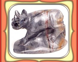 147.5ct GEM ITALIAN PICASSO MARBLE RHINO CARVING