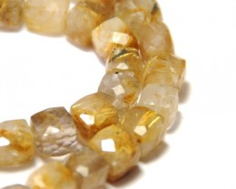 "Superb Box checker cut GOLDEN RUTILE beads 7mm 8"" gru02"