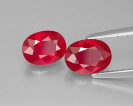 BEAUTIFUL PAIR OF NATURAL RUBY 6x8 MM and 3,50 CTS