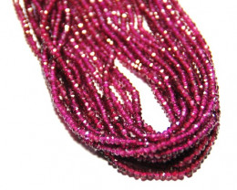 "*NEW STOCK* AA Grade Faceted RHODOLITE GARNET beads 14"" 3mm"