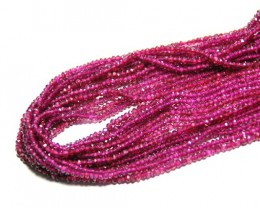 3mm Faceted RHODOLITE GARNET beads 14""