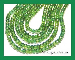 "AAA GREEN APATITE faceted beads 14"" line 3mm - 3.5mm"