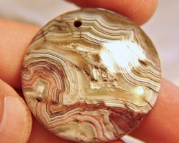 88.7 Ct. Lace Agate Pendant, 40mm,  Unusual, Elegant