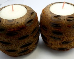 PAIR AUSSIE BANKSIA FRAGRANCE NUT TEA LIGHT  848 CTS RT1316