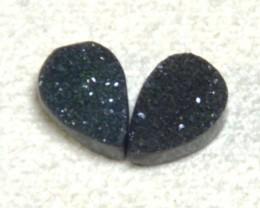 Pair of 9mm drop shape DRUZY AGATE cabochon