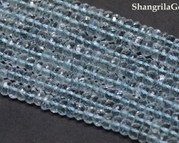 AQUAMARINE faceted beads 4mm 13.75inch line aq001