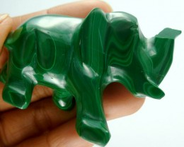 MALACHITE ELEPHANT CARVING 282.9 CARATS  RT 1651