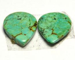 Pair of AAA gorgeous Tibetan Turquoise gemstone cabochon